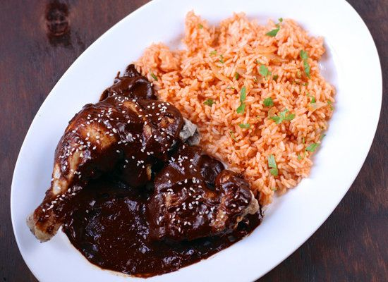 """<strong>Get the <a href=""""http://www.thebittenword.com/thebittenword/2012/09/chicken-with-puebla-style-mole-sauce.html"""">Chicke"""