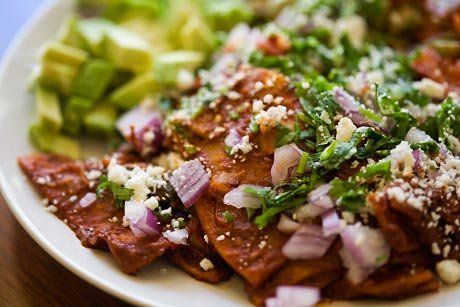 "<strong>Get the <a href=""http://www.simplyrecipes.com/recipes/chilaquiles/"">Chilaquiles recipe from Simply Recipes</a></stron"