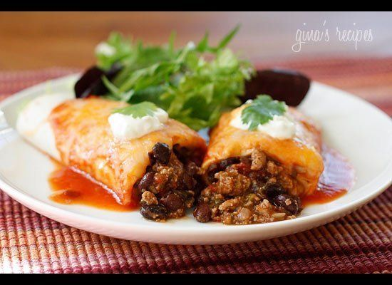 "<strong>Get the <a href=""http://www.skinnytaste.com/2010/04/turkey-and-black-bean-enchiladas.html"" target=""_hplink"">Turkey an"