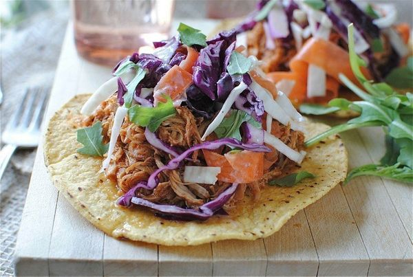 """<strong>Get the <a href=""""http://bevcooks.com/2012/09/bbq-pulled-chicken-tostadas-with-cole-slaw/"""" target=""""_blank"""">BBQ Pulled"""