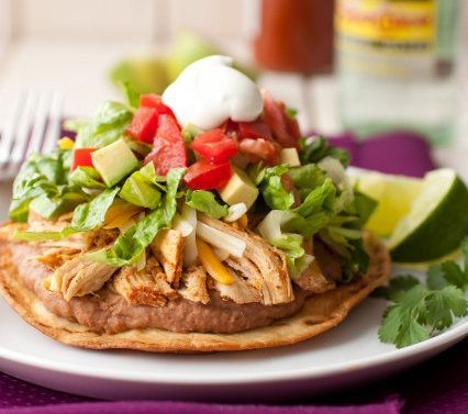 """<strong>Get the <a href=""""http://www.cookingclassy.com/2013/02/chicken-tostadas-with-slow-cooker-chicken/"""" target=""""_blank"""">Slo"""