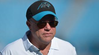 CHARLOTTE, NC - AUGUST 17:  Carolina Panthers owner David Tepper stops for a photo before their preseason game against the Miami Dolphins at Bank of America Stadium on August 17, 2018 in Charlotte, North Carolina.  (Photo by Grant Halverson/Getty Images)