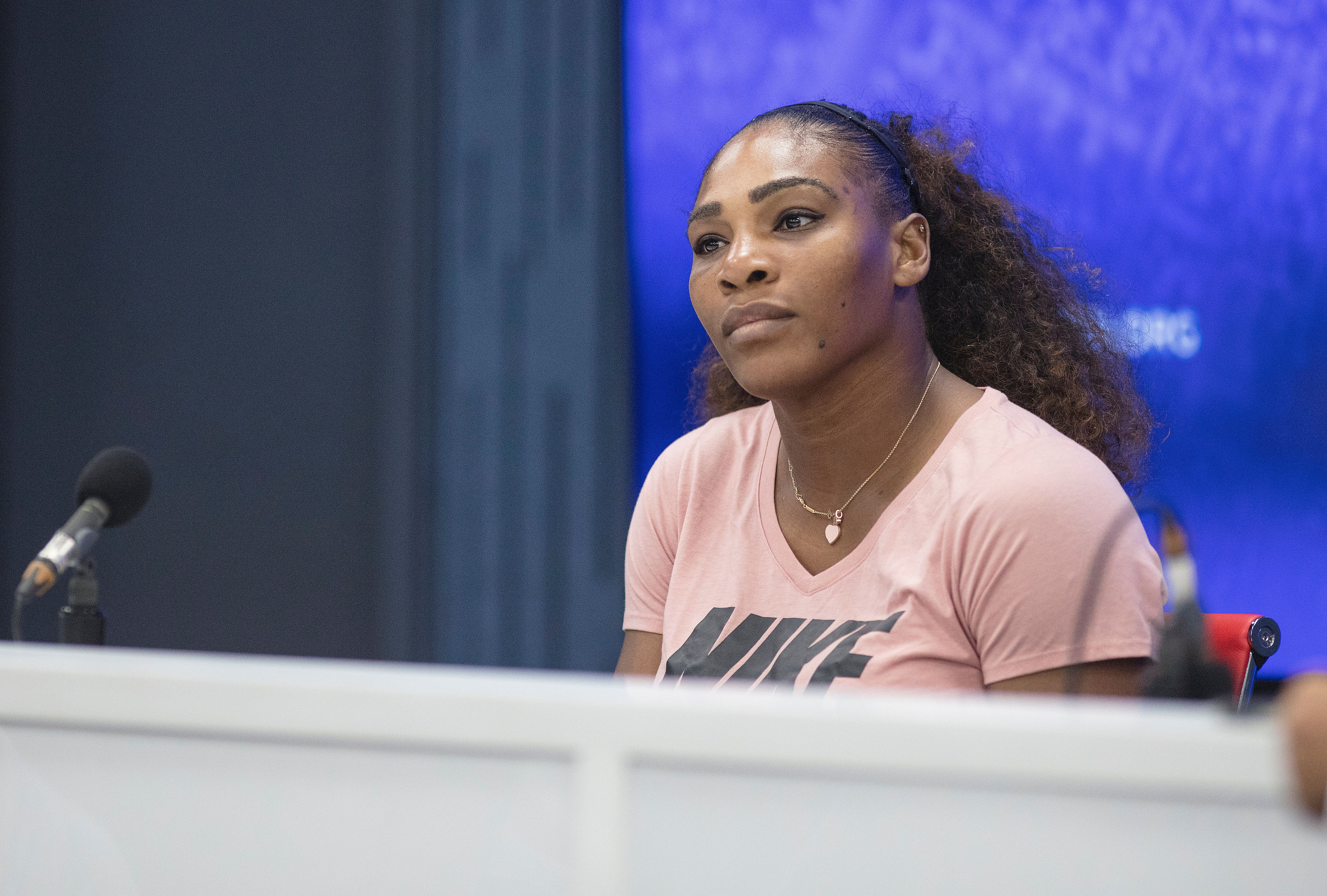 2018 US Open Tennis Tournament- Day Thirteen.  Serena Williams of the United States at her press conference after her match against Naomi Osaka of Japan in the Women's Singles Final on Arthur Ashe Stadium at the 2018 US Open Tennis Tournament at the USTA Billie Jean King National Tennis Center on September 8th, 2018 in Flushing, Queens, New York City.  (Photo by Tim Clayton/Corbis via Getty Images)