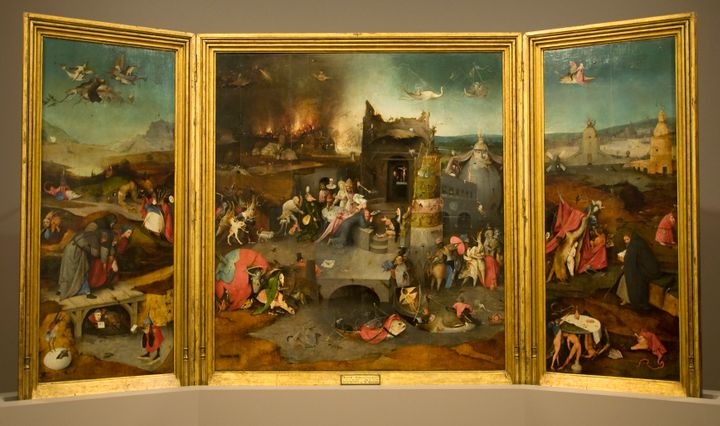 "Hieronymus Bosch's ""Triptych of Temptation of St. Anthony,"" original home of the demon bird."