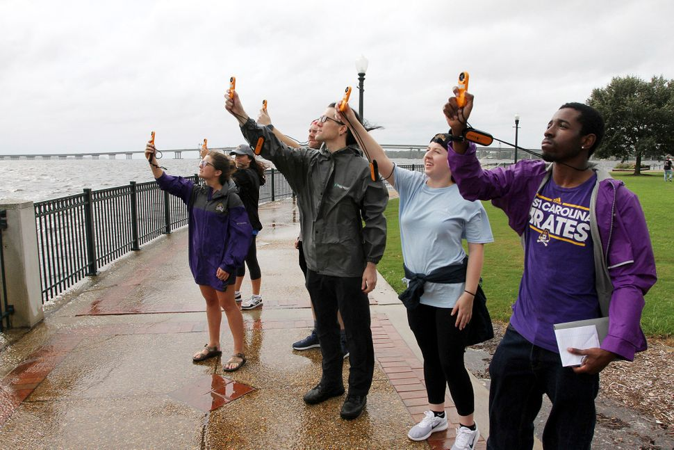 Students Samantha Levine, Megan Boles, Aaron Newns, Dana Pawlowski and Isaiah Goham, of East Carolina University's Coastal St