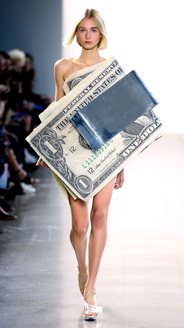 """Designer Kota Okuda sent models down the runway in looks like this one, meant to redefine American currency """"<a href=""""https:/"""