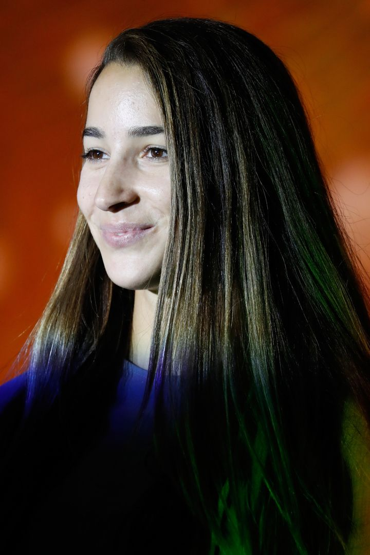 Raisman sans makeup on the runway in New York, Sept. 13.
