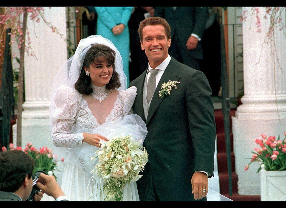 In an April 25, 1986 file photo Actor Arnold Schwarzenegger poses with his bride Maria Shriver following their wedding ceremo