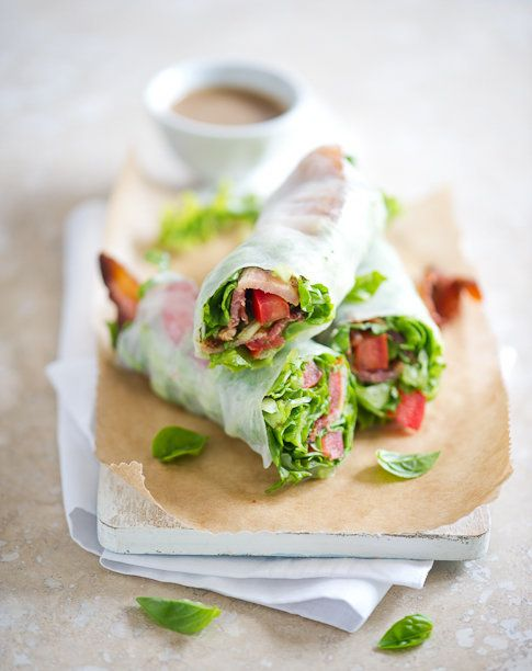 """<strong>Get the <a href=""""http://whiteonricecouple.com/recipes/spring-rolls/"""">BLT Spring Roll recipe</a> from White On Rice Co"""