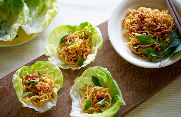 """<strong>Get the <a href=""""http://whiteonricecouple.com/recipes/pork-lettuce-cup/"""">Spicy Pork Lettuce Cups with Noodles recipe<"""