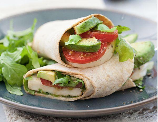 """<strong>Get the<a href=""""http://www.foodiecrush.com/2013/07/avocado-caprese-wrap/"""" target=""""_blank""""> Avocado Caprese Wrap recip"""
