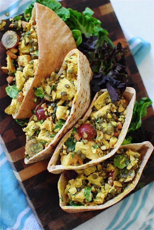 """<strong>Get the <a href=""""http://bevcooks.com/2014/07/curried-chicken-and-lentil-pita-pockets/"""" target=""""_blank"""">Curried Chicke"""