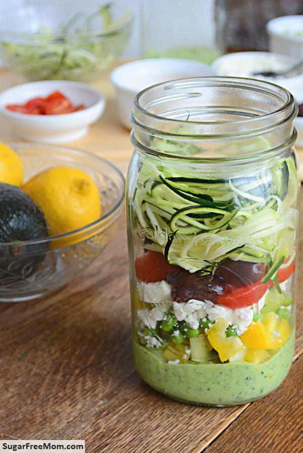 "<strong>Get the <a href=""http://www.sugarfreemom.com/recipes/mason-jar-zucchini-pasta-salad-with-avocado-spinach-dressing/"" t"