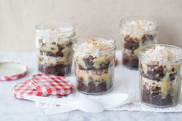 """<strong>Get the <a href=""""http://www.foodiecrush.com/2013/06/german-chocolate-brownies-in-a-jar/"""" target=""""_blank"""">German Choco"""