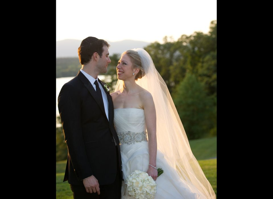 For her wedding to Marc Mezvinsky, Chelsea donned a strapless silk organza Vera Wang dress with an embellished belt.