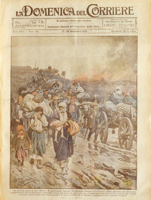 Greek defeat in Asia Minor. Cover illustration from La Domenica del Corriere, Sunday supplement to Italian...