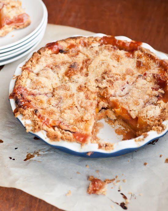 "<strong>Get the <a href=""http://cafejohnsonia.com/2013/10/peach-streusel-pie.html"" target=""_blank"">Peach Streusel Pie recipe<"