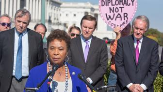 WASHINGTON, DC - NOVEMBER 02:  Rep. Barbara Lee (D-CA) speaks at the news conference held by Congressional Democrats demanding congressional authorization before a first strike on North Korea outside the capital on November 2, 2017 in Washington, DC.  (Photo by Tasos Katopodis/Getty Images)