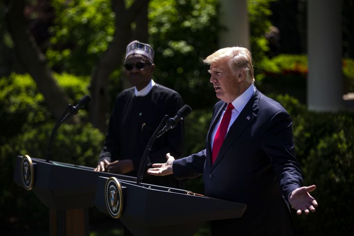President Donald Trump speaks with Nigerian president Muhammadu Buhari. Nigeria is one of three new nations where Trump has u