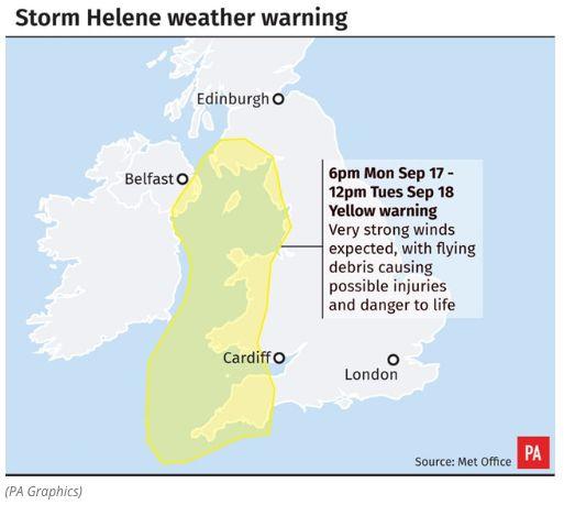 UK Weather: Met Office Issues Severe Weather Warnings As Hurricane Helene Creeps