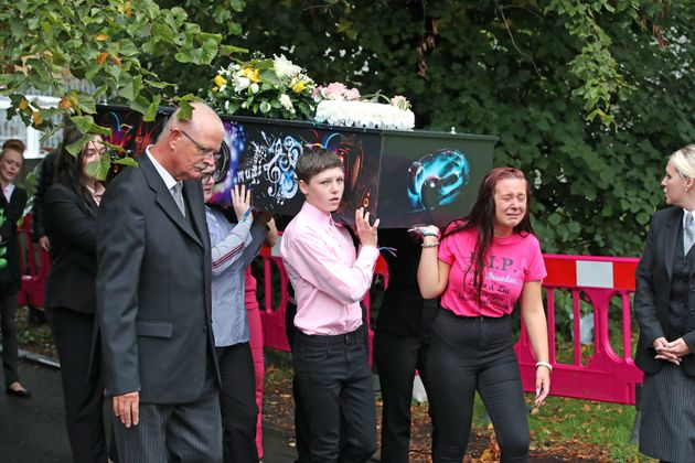 The coffins of Demi, Brandon, Lacie and Lia Pearson are carried into St Paul's Church in Walkden, ahead...