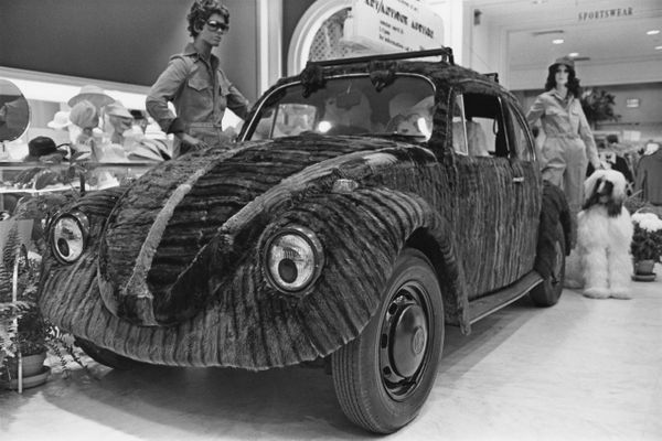 <i>A mink fur-covered Volkswagen Beetle on display at the Somerset Mall (now called Somerset Collection) in Troy, Michigan, i