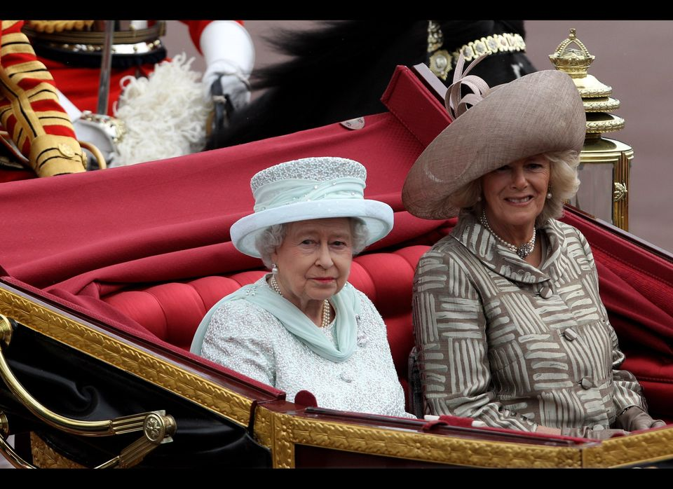 Queen Elizabeth II and Camilla, Duchess of Cornwall, look on during the Diamond Jubilee carriage procession.