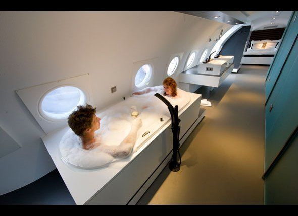 "Jacuzzi onboard? Absolutely. The sleek <a href=""http://www.airbnb.com/rooms/28501"" target=""_hplink"">Airplane Suite at the Teu"