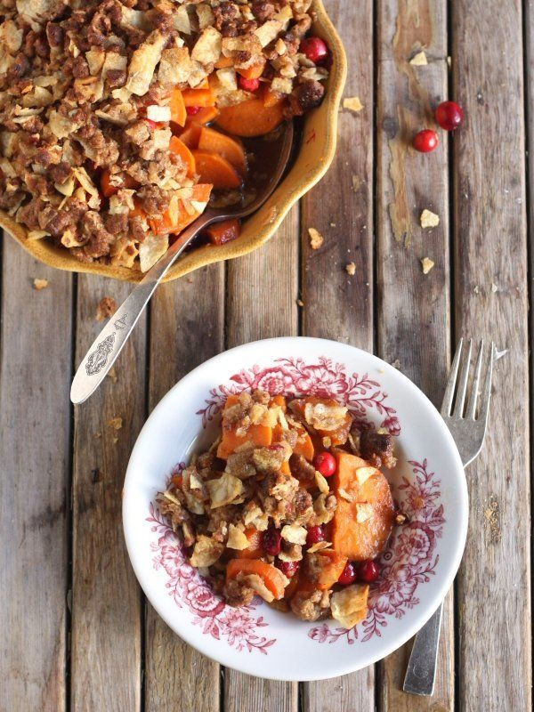 "<strong>Get the <a href=""http://www.completelydelicious.com/2013/11/sweet-potato-cranberry-crisp.html"" target=""_blank"">Sweet"
