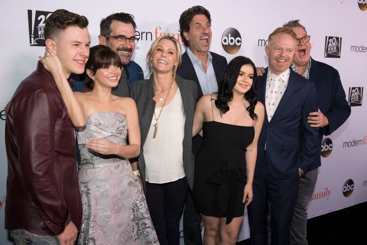 """Pictured with executive producer Steven Levitan (center) are several cast members of """"Modern Family"""" whose character could be"""