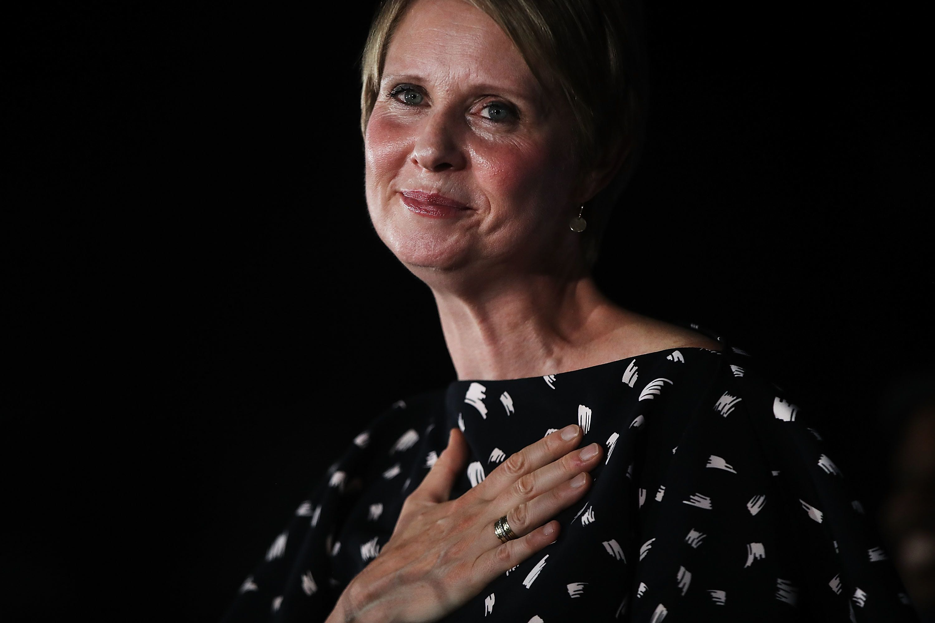 New York gubernatorial hopeful Cynthia Nixon makes a concession speech at a Brooklyn restaurant on Sept. 13, 2018, in New Yor