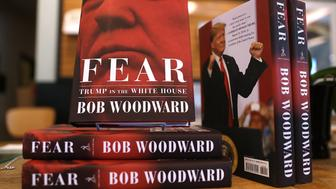 CORTE MADERA, CA - SEPTEMBER 11:  The newly released book 'Fear' by Bob Woodward is displayed at Book Passage on September 11, 2018 in Corte Madera, California. The new book 'Fear' by Bob Woodward about the Trump adminstration hit store shelves today.  (Photo by Justin Sullivan/Getty Images)