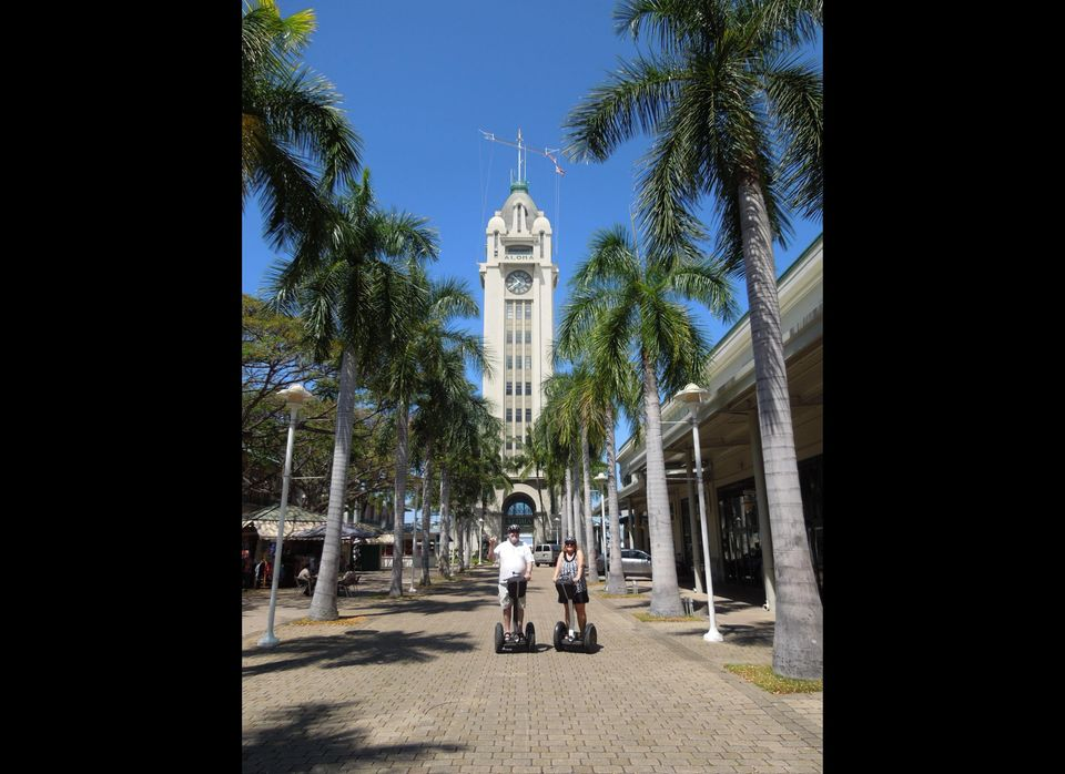 The Aloha Tower Market Place is one of the points of interest on the Honolulu History and Culture Segway tour.