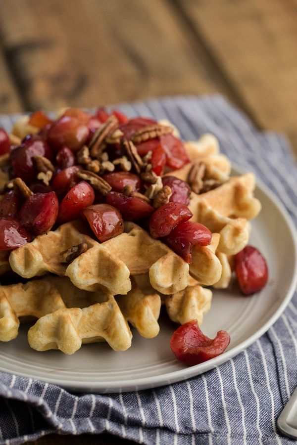 "<strong>Get the <a href=""http://naturallyella.com/2015/06/06/waffles-with-vanilla-bean-cherries/"" target=""_blank"">Waffles wit"