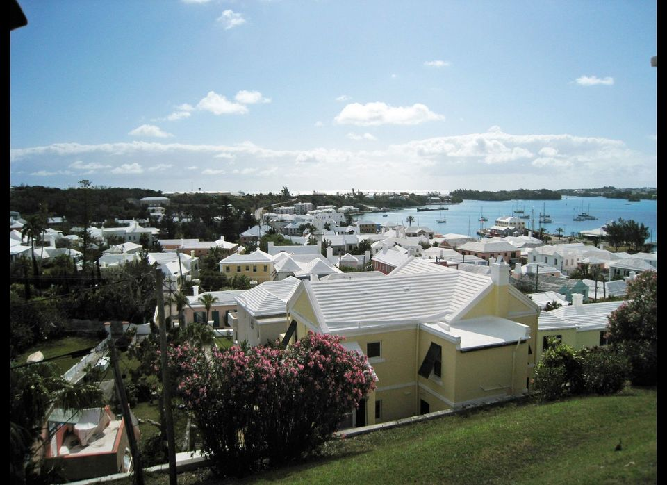 Bermudian architecture is marked by sherbet-painted houses and stepped white roofs.