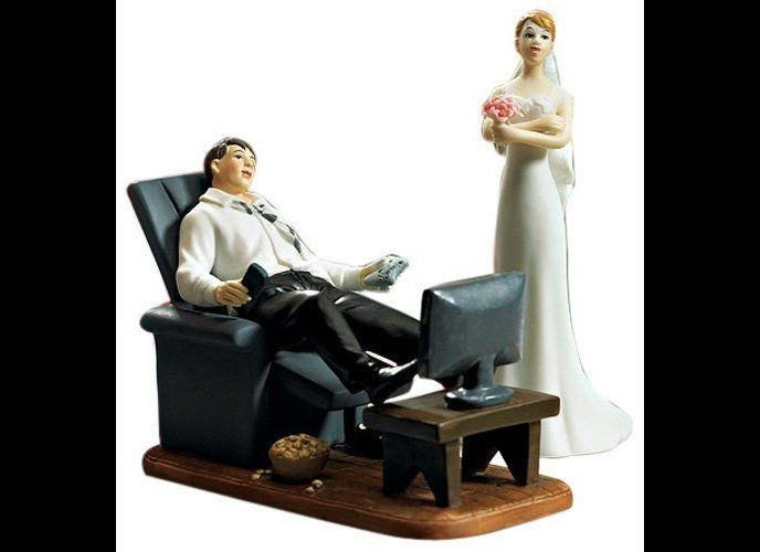 Does this wedding cake topper foreshadow what marriage is supposed to be like? 