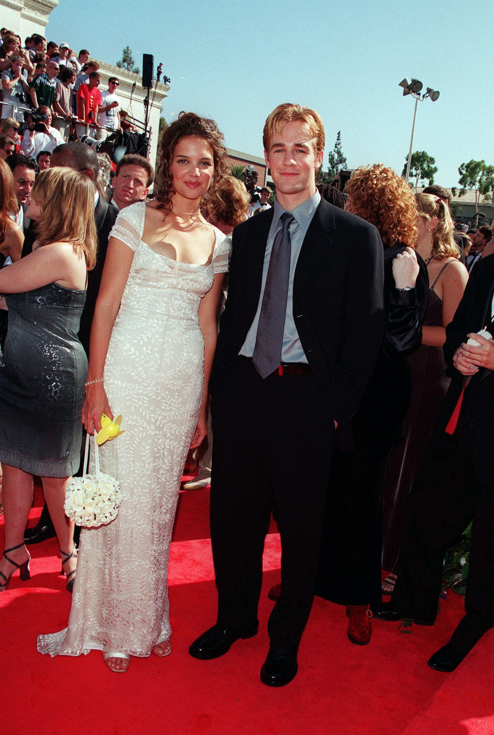 (Original Caption) Arrival of the heroes from 'Dawson's Creek', KatieHolmes and James Van Der Beek. (Photo by Frank Trapper/Corbis via Getty Images)