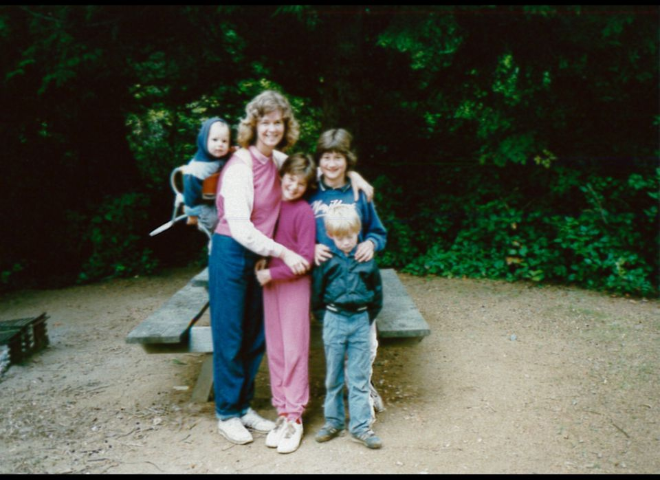 "Adams grew up in a small town in Oregon, the oldest of four kids, from left: Dean; mom, Debbie; Erica; Adams; and Greg. ""We g"