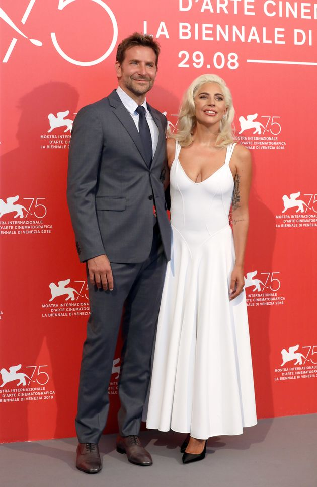 """Cooper and co-star Lady Gaga at the world premiere of """"A Star Is Born"""" at the Venice Film..."""