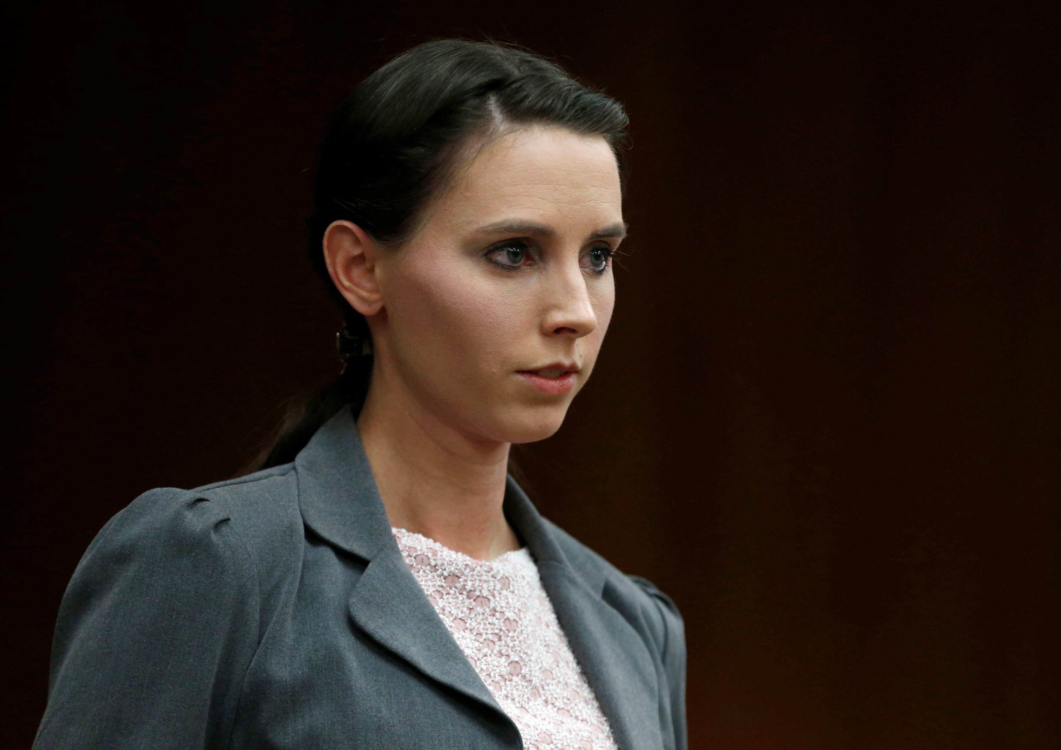 Rachael Denhollander makes a statement during convicted sexual abuser Larry Nassar's sentencing hearing in Charlotte, Mi