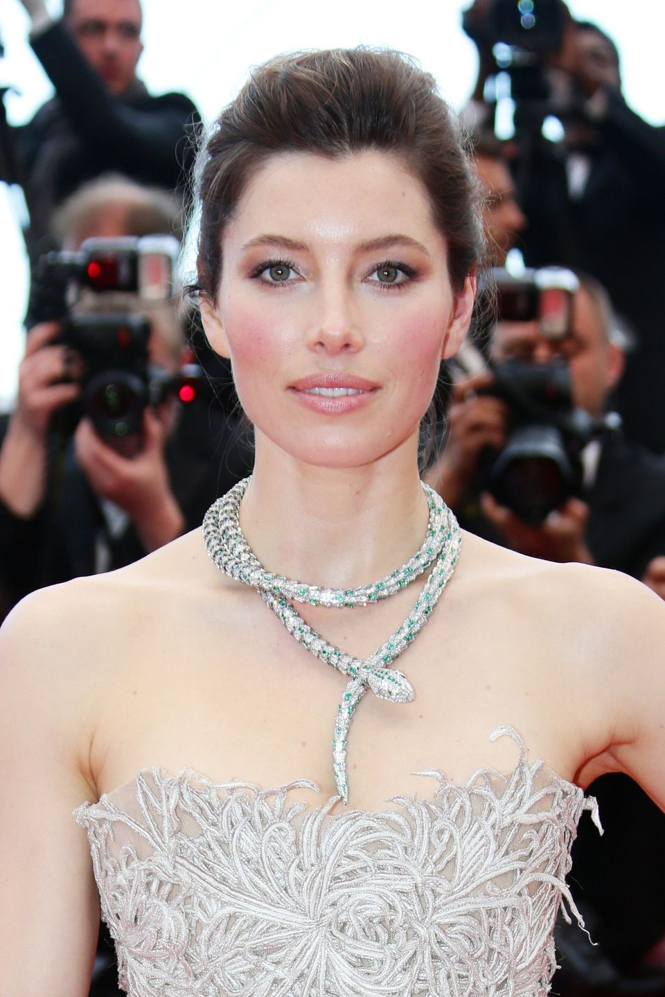 The star radiated at Cannes 2013 with this awesome snake-like necklace.