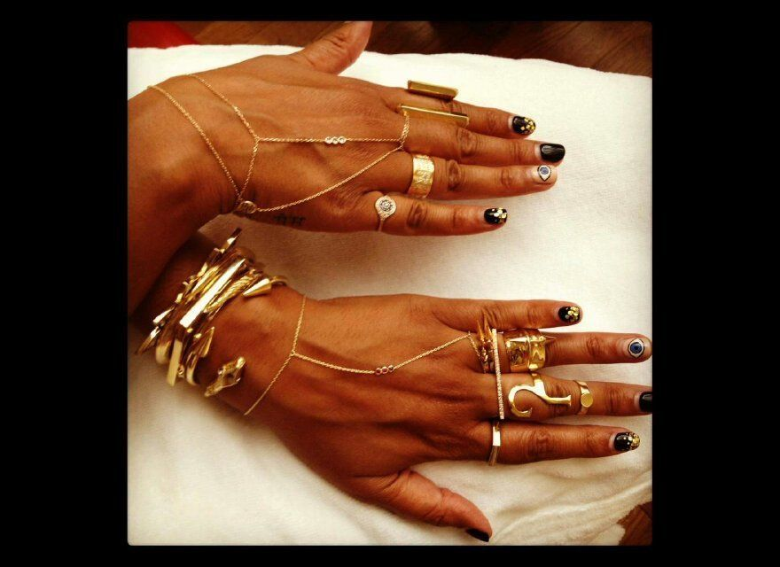 #1: Hand chains. The more the better. I don't take them off all season long -- gypsy chic because you are what you think.
