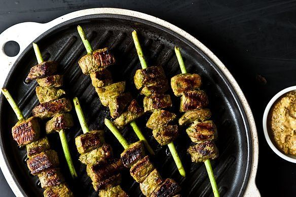 "<strong>Get the <a href=""http://food52.com/recipes/17117-garlic-scape-beef-satay-with-garlic-scape-satay-dip"" target=""_blank"""