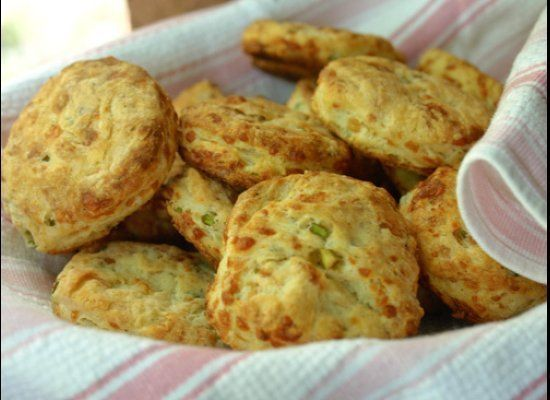 "<strong>Get the <a href=""http://pink-apron.com/2010/06/garlic-scape-and-gruyere-biscuits/"" target=""_hplink"">Garlic Scape and"
