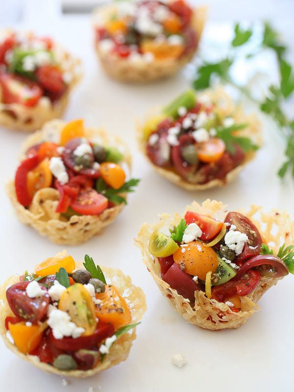 """<strong>Get the <a href=""""http://www.foodiecrush.com/2013/08/heirloom-tomato-frico-cups/"""" target=""""_blank"""">Heirloom Tomato Fric"""