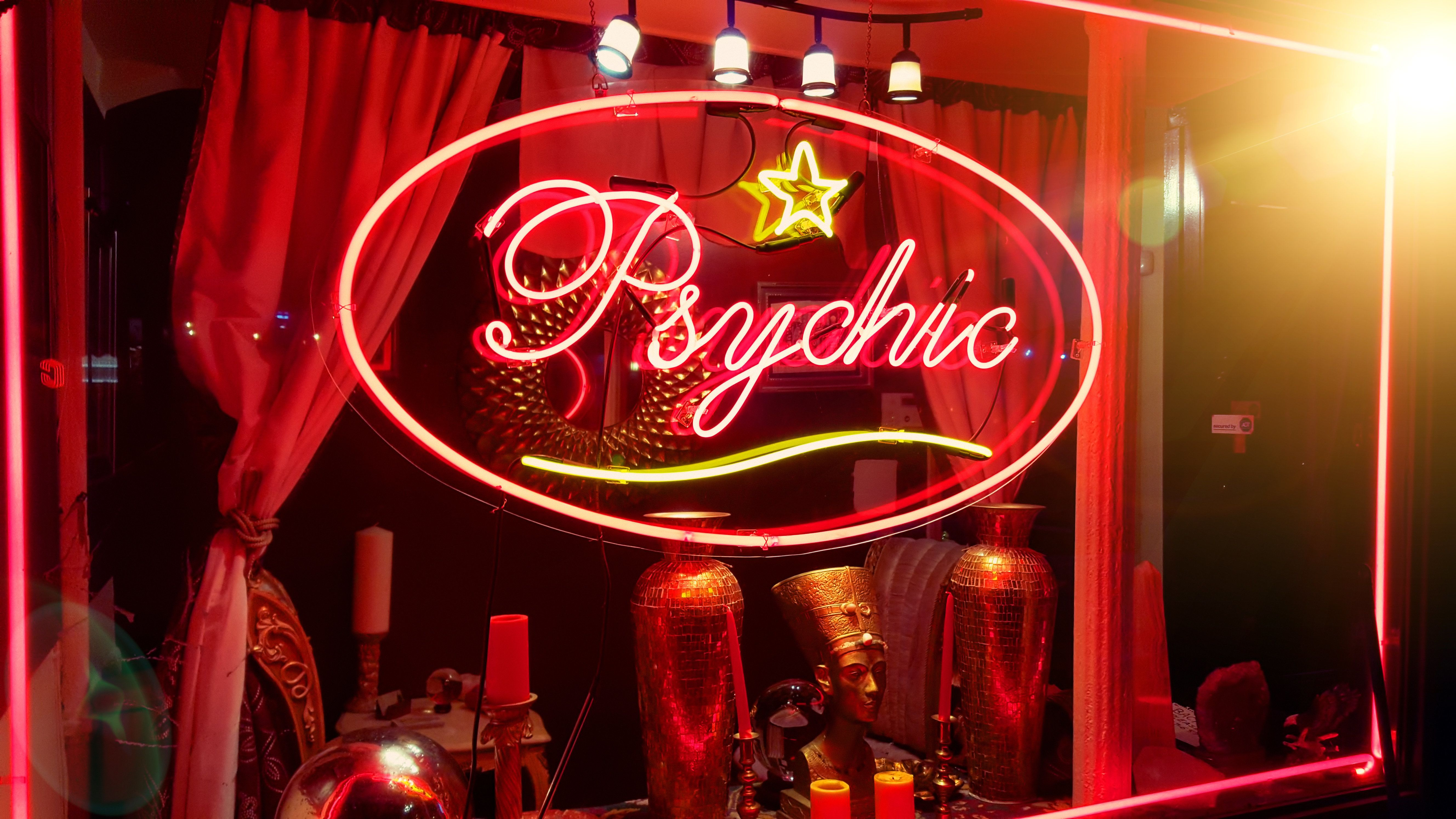 Store window of a psychic parlor in the East Village, Manhattan, New York City