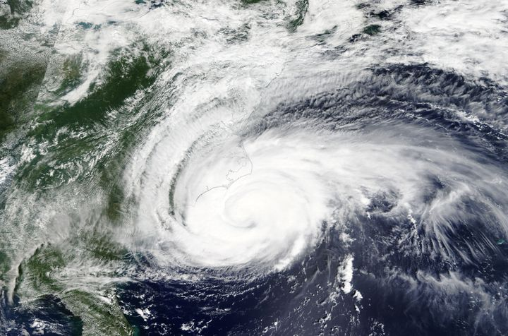 Hurricane Florence is seen off the East Coast of the United States on Sept. 13, 2018.