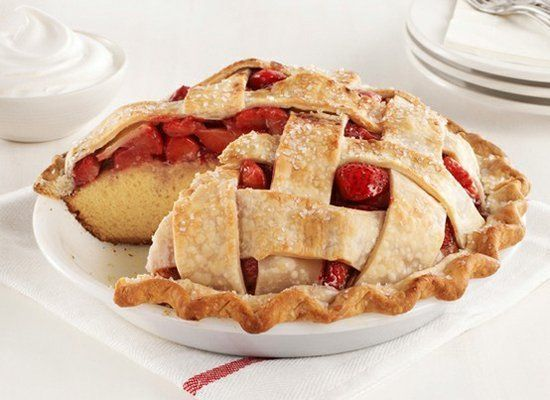 "<strong>Get the <a href=""http://www.foodnetwork.com/recipes/food-network-kitchens/strawberry-pie-cake-recipe/index.html"" targ"