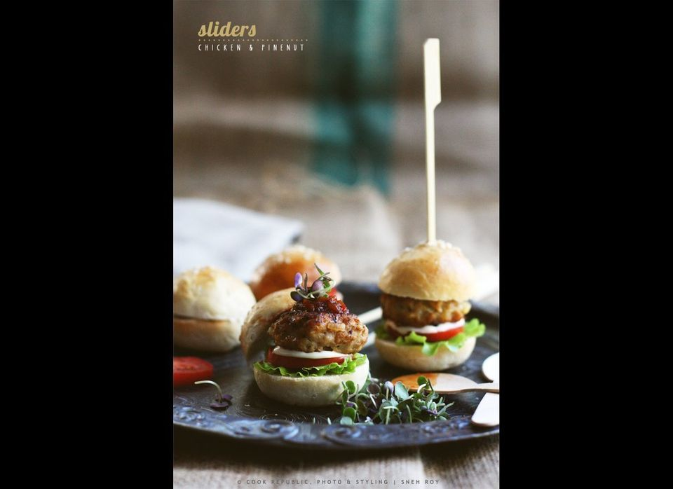 """<strong>Get the <a href=""""http://www.cookrepublic.com/recipe-archive/chicken-and-pinenut-sliders-mini-burgers/"""" target=""""_hplin"""