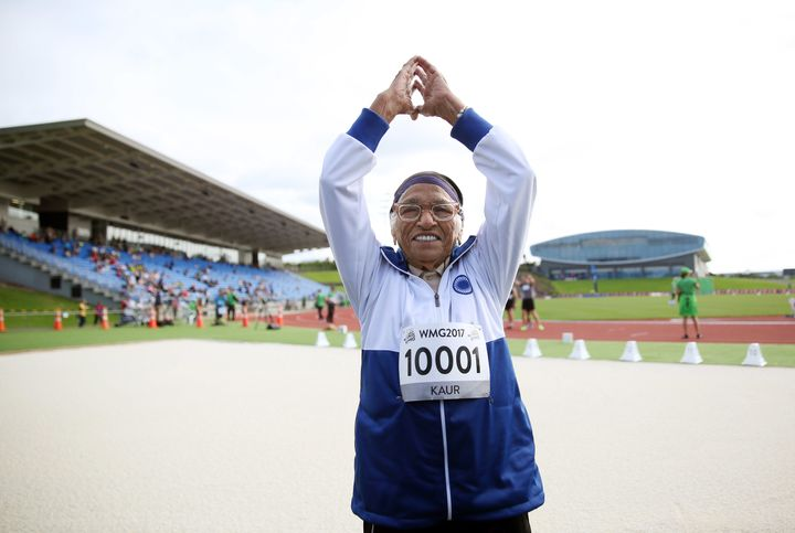 Man Kaur celebrates after competing at the World Masters Games in New Zealand last year.